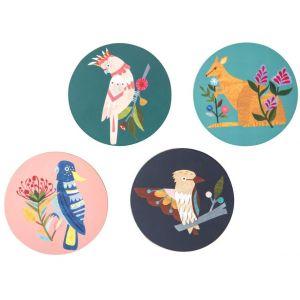 Australiana Fauna Coater Set/4 Nellie/Dusty/Sidney/Albert 10x10x0.3cm