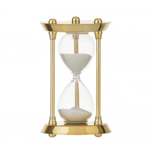 Amalfi Regency Hourglass 15 Minutes Gold/Clear/White 10x10x18cm
