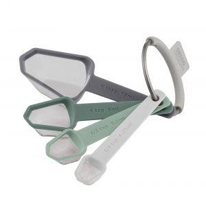 Grand Designs Kitchen  Measuring Spoons Set/4 White/Green/Grey 1 tbsp-1 tsp-1/2 tsp-1/4 tsp 10x3.5x3