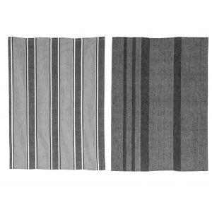 Davis & Waddell Ellis Tea Towel Set/2 Black/White 70x50x0.2cm