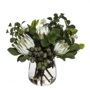 Rogue Grand King Protea Mix-Greta Vase Soft Green/Glass 53x43x43cm