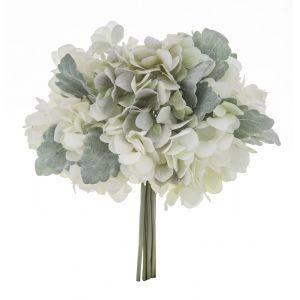 Rogue Hydrangea Bouquet White/Green 25x25x28cm