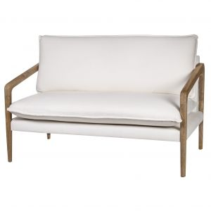 Grand Designs Sorrento 2 Seater Chair Natural/White 141x76x78 cms