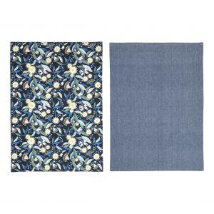 Australiana Gum Blossom Tea Towel Set/2 Blue/Multi 50x70x0.2cm