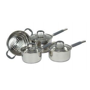 Davis & Waddell Argon Cookset with Glass Lids Set 4pce Stainless Steel/Clear/Grey Saucepans D16/18/20cm/Universal Steamer Fits 16-20cm