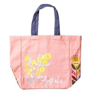 Australiana Flora Tote Pink/Multi 16x32x35cm