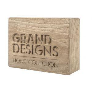 Grand Designs Wooden GD Branding Block Natural 10x26cm