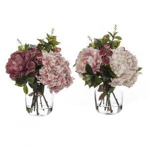 Rogue Rose Bud Garden Mix-Monica Vase 2 Asst. Pack of 2 Pink/Glass 39x33x43cm