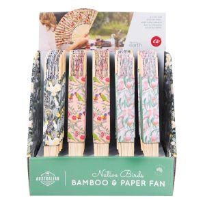 The Australian Collection Bamboo + Paper Fans - Birds  assorted Cockatoo, Galah & Rainbow Lorikeet prints