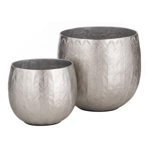 Society Home Anderson Planter Pot Set/2 Silver 16x16x13.5cm/20x20x18cm