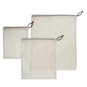 Stephanie Alexander Produce Bags Assorted Set 3pce Natural 20.5x0.5x24cm/28x0.5x31cm/36x0.5x43cm