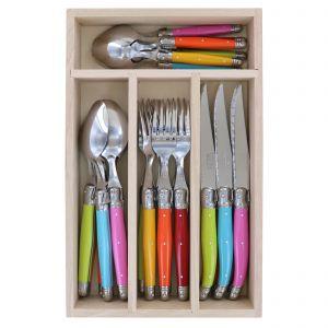 Andre Verdier Debutant Cutlery Set 24pce 6 Spoons 23.5cm/6 Forks 21.5cm/6 Knives 23.5cm/6 Tsp 16.5cm/GB 32x20x5cm Stainless Steel/Printemps/Yellow/Orange/Red/Pink/Aqua/Lime