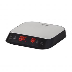 Leaf & Bean Electronic Precision Coffee Scale with Timer Black/Stainless Steel Platform 16.5x15x3cm/3kg/1g
