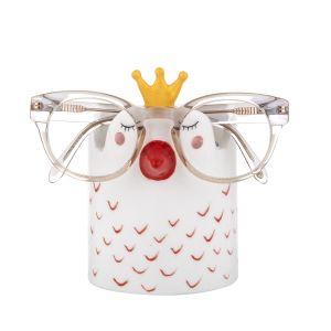 Emporium Sadie Swan Glasses/Pen Holder White/Pink/Yellow 11x8x12cm