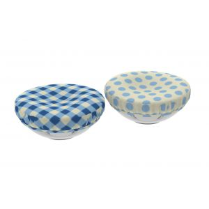 Davis & Waddell Reusable Reversible Fabric Bowl Cover Suitable for 16-18cm Blue Gingham/Blue Dots