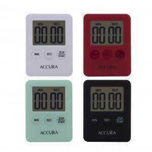 Davis & Waddell Compact 99 Minute Digital Timer 4 Asst Colours 10 Black/10 Red/10 White/10 Mint 5.5x7x1cm