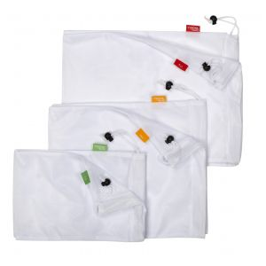 Davis & Waddell Reusable Produce Bags Set/6 White/Black 2 30x20x.3cm/2 35x30x.3cm/2 43x30x.3cm