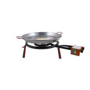 Garcima Valencia Paella Table Top Gas Burner Set 2pce Silver/Red Pan 56x46x6cm/Set 48x70x25cm