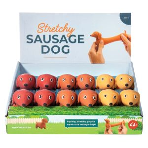 IS GIFT Stretchy Sausage Dog  assorted brown, caramel & rusty brown