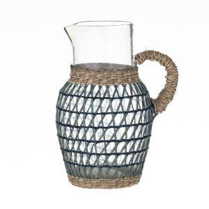 Amalfi Rheta Glass Pitcher with Woven Sleeve Blue/Natural/Clear 14x18x23cm/1.7L