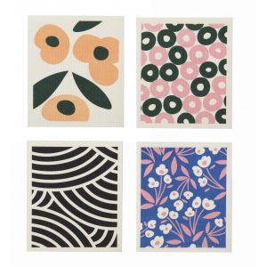Davis & Waddell Sala Swedish Dishcloth 4 Asst Designs 12 Ditsy/12 Flower/12 Circle/12 Arc 17x0.2x20cm