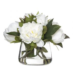 Rogue Peony-Rounded Classic Bowl White/Glass 33x30x23cm
