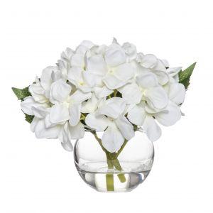 Rogue Hydrangea-Sphere Vase White/Glass 23x20x18cm