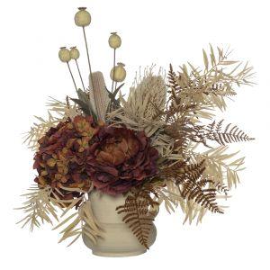 Rogue Dried Look Banksia Fern Mix-Toscana Pot Brown/Beige 60x50x55cm