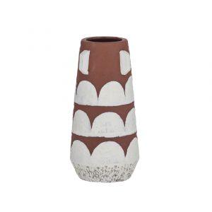 Emporium Erskine Vase Terracotta/White 10x10x20cm