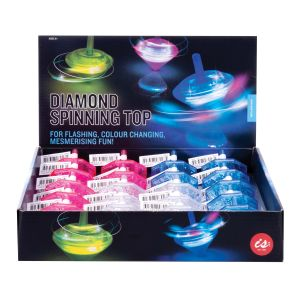 IS GIFT Diamond Spinning Top  assorted pink, blue & clear