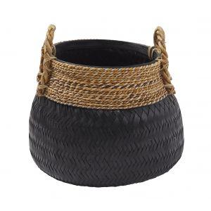 Amalfi Bambu Basket Black/Natural 47x47cm