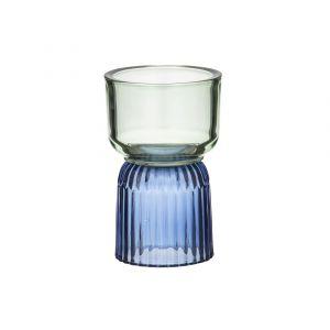 Amalfi Palais Candle Holder Cobalt/Mint 10.5x10.5x16.5cm