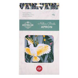 The Australian Collection Full Length Apron - Birds  Green Cockatoo Print