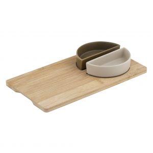 Davis & Waddell Amora Bowls on Bamboo Tray Set/3 Natural/White/Green Tray 28x15x1cm/2 Bowl 11x5.5x3cm