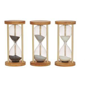 Amalfi Lexton Hourglass 10 Minutes - 3 Asst Colours 2 Black/2 Silver/2 White 7.5x7.5x16cm