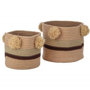 Amalfi Pomery Basket Set/2 Salmon/Burgundy/Natural 20x20x18cm/25x25x22cm