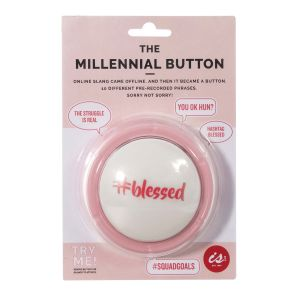 IS GIFT The Millennial Button  Pink 10 pre-recorded sayings