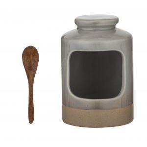 Davis & Waddell Jenson Salt Pig Grey/Natural 11x11x16.5cm