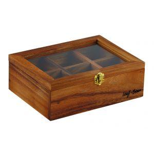 Leaf & Bean Acacia Wood Tea Box Natural/Clear 25x18.5x9cm