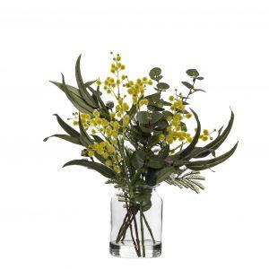 Rogue Wattle Mix-Glass Lip Vase Yellow/Glass 36x32x41cm