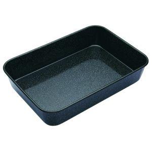 MasterPro Professional Vitreous Enamel Roasting Pan Black External 34x26x7.5cm/Internal 32x24x7cm