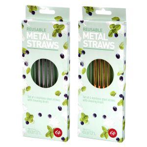 IS GIFT Reusable Metal Straws Set of 4 - Metallics   assorted Silver & Gold