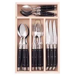 Andre Verdier Debutant Cutlery Set 24pce Stainless Steel/Black 6 Spoons 23.5cm/6 Forks 21.5cm/6 Knives 23.5cm/6 Tsp 16.5cm/GB 32x20x5cm