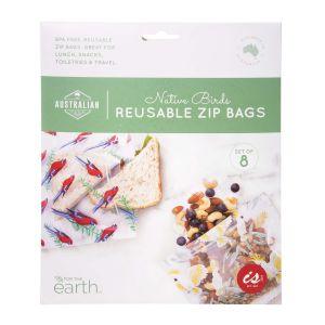 The Australian Collection Reusable Zip Bags  - Birds  Multicoloured Rosella and Cockatoo