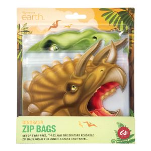 IS GIFT Reusable Zip Bag  - Dinosaurs  Multicoloured Set of 8