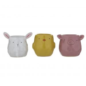Emporium Farm Friends Egg Cups 3 Asst Designs 5 Sheep/5 Chicken/5 Pig 8x8x7cm