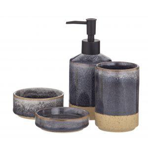 Academy Becket Bathroom Set 4pce Grey/Sand/Black 15.5x15x18cm