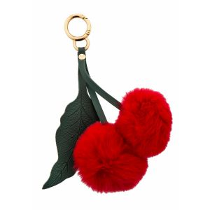 Bouffants & Broken Hearts Cherry Pom Pom Key Ring Red/Green 12x18.5cm