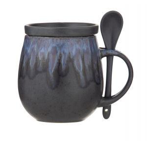 Amalfi Aikido Reactive Hug Mug Set 3pce Reactive Blue Mug 10.5x14x11cm/500ml/Coaster 9x9x2cm/Spoon 12.5x3x1cm