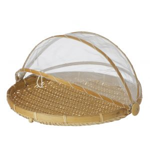 Davis & Waddell Collapsible Mesh Food Cover with Bamboo Tray Natural/White 37x37x24cm